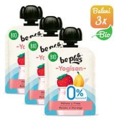 BePlus 3x BIO kapsička jahoda, banán a jogurt 0% cukru 90g