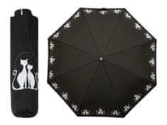 Doppler Dreaming Cats dámský skládací deštník s bílými kočkami Barva: Černá