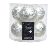 Kaemingk Set skleněných ozdob - bílá - 6 ks