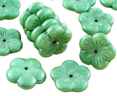Kraftika 6db olasz zöld csillogás nagy lapos virág csésze cseh üveg
