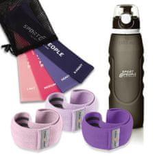 Sport2People steklenica + set tekstilnih elastik za vadbo, 3 kosi + set lateks elastik za vadbo, 4 kosi