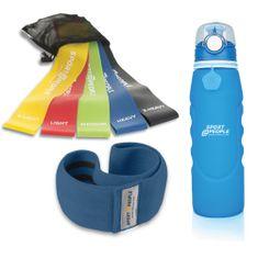 Sport2People steklenica, modra, 1 l + tekstilna elastika za vadbo + set lateks elastik za vadbo, 5 kosov