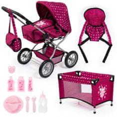 Bayer Design Kočík pre bábiky Combi grande set modrá/ružová
