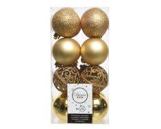 Kaemingk Set plastových ozdob - zlatá - 16 ks