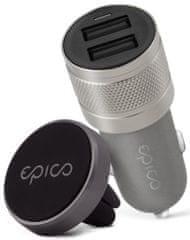 EPICO Bundle Dual Car Charger + Car Holder 9915101300105, černá/šedá