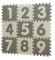 BabyDan Hracia podložka puzzle Grey s číslami 90 x 90 cm
