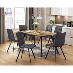 IDEA nábytek Jídelní stůl BERGEN dub + 6 židlí BERGEN šedé mikrovlákno