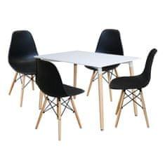 IDEA nábytek Jídelní stůl 120x80 UNO bílý + 4 židle UNO černé