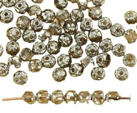 Kraftika 50szt kryształ fioletowy srebrny metalik czeskie szkło