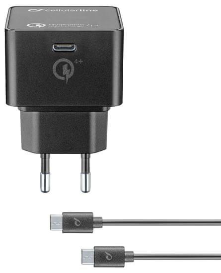 CellularLine Set USB-C síťové nabíječky (PD) a 1m kabelu s konektory USB-C, max. 30 W, Qualcomm Quick Charge 4+ ACHKITQC4TYCK, černý