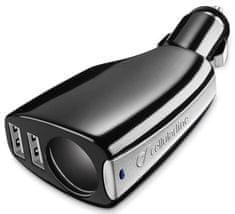 CellularLine Autonabíjačka s CL výstupom a 2 USB porty TRIPLEPOWER, čierna