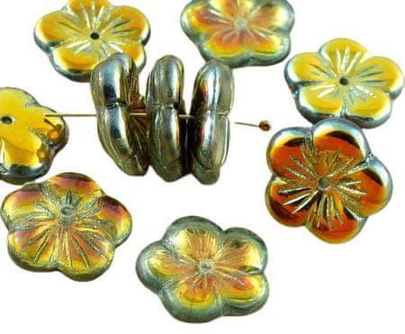 Kraftika 6szt metalowe marea złoty kryształ połowa duży płaski kwiat