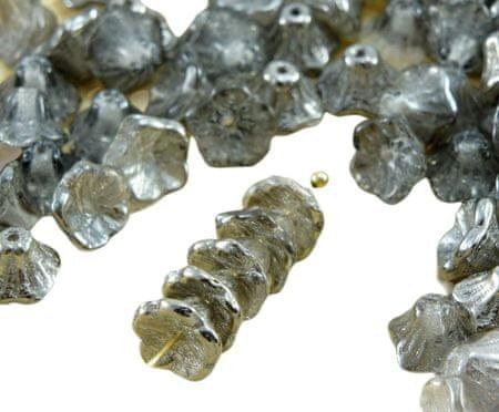 Kraftika 40db kristálytiszta fém sötét ezüst króm fél kis harang