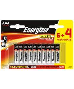 Energizer Max alkalna baterija, AAA (LR03), 6 + 4 kosi