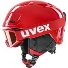 Uvex Heyya Set smučarska čelada in očala, rdeče-črne, številka 51-55