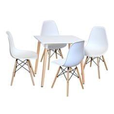 IDEA nábytek nábytek Jídelní stůl 80x80 UNO bílý + 4 židle UNO bílé
