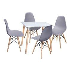 IDEA nábytek Jídelní stůl 80x80 UNO bílý + 4 židle UNO šedé