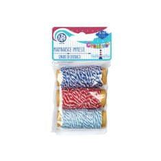 Astra CREATIVO Dekoračná bavlnená šnúrka 3x10m MARINE Modrá/Červená, 335118007