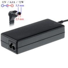 Akyga AK-ND-28 napájecí adaptér pro LCD monitory, CCTV a CCD kamery - 12V/6A 72W 5.5x2.5mm konektor