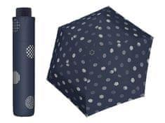 Doppler HAVANNA Timeless modrý puntíkovaný ultralehký skládací deštník Barva: Modrá