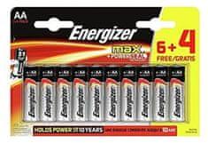 Energizer Max alkalna baterija, AA (LR6), 6 + 4 komada
