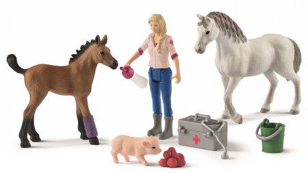 Schleich Figure kobile i ždrijebeta kod veterinarke 42486