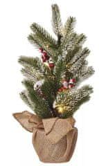 EMOS LED vianočný stromček, 52 cm, 3 × AA, vnútorný, teplá biela, časovač