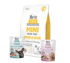 Brit Care Mini Grain Free Hair & Skin 2 kg + 2x pouch 85g