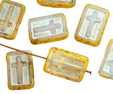 Kraftika 4 sztuki picassa kryształ żółty srebrny umyć prostokąt