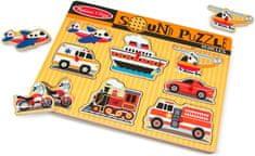 Melissa & Doug puzzle drewniane z odgłosami środków transportu
