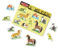 Melissa & Doug Drevené puzzle so zvukmi domáce zvieratá
