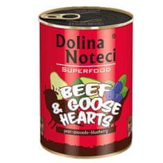 DOLINA NOTECI SUPERFOOD 400g hovädzie a husacie srdce pre psov 80% mäsa