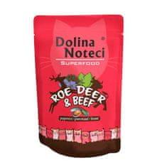 DOLINA NOTECI SUPERFOOD 85g srnčie a hovädzie mäso pre mačky 80% mäsa