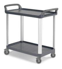 CLEANLIFE jídelní protihlukový vozík 3730 - hliníkové stojny, šedá barva