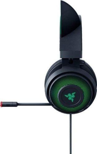 Sluchátka Razer Kraken Kitty, černá (RZ04-02980100-R3M1), prostorový zvuk, 50mm měniče, kabel 1,3m, USB, Razer Chroma RGB podsvícení, hliník a ocel, odolná lehká konstrukce, kočičí uši, RGB