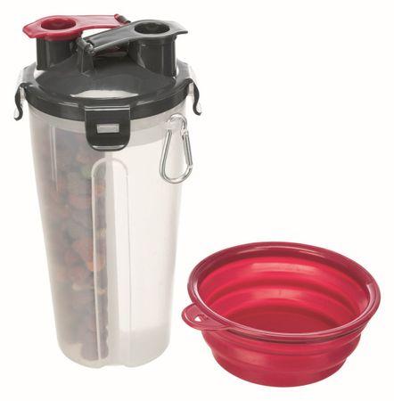 Trixie potovalni rezervoar za vodo in posodo s posodo, 2x 0,35 l/11x23 cm