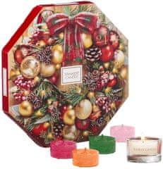 Yankee Candle adventski kalendar 24 čajnih svijeća + stakleni svijećnjak za čajne svijeće