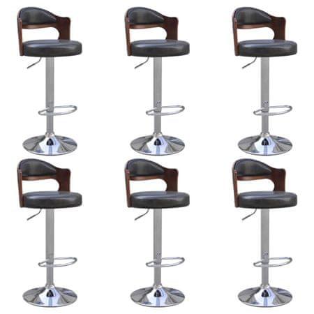shumee Barski stolčki 6 kosov ukrivljen les in umetno usnje črni