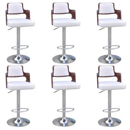 shumee Barski stolčki 6 kosov ukrivljen les in umetno usnje beli