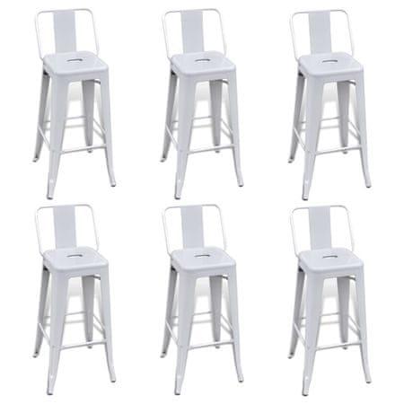shumee Barski stolčki 6 kosov belo jeklo