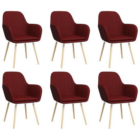 shumee Jedilni stoli z naslonjali za roke 6 kosov vinsko rdeče blago