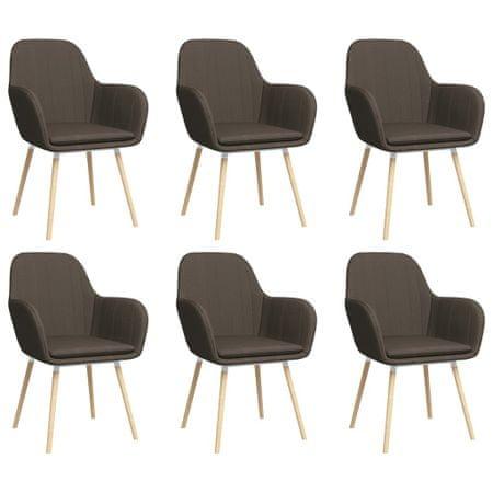 shumee Krzesła stołowe z podłokietnikami, 6 szt., taupe, tkanina