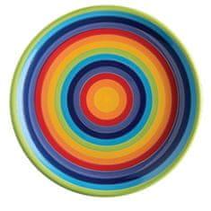 Namaste Velký duhový keramický talíř STRIPPY z Thajska, Namaste