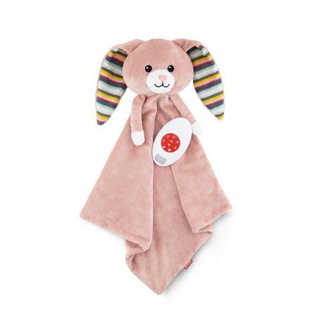 ZAZU dekica s umirujućim zvukovima, dječja, meka, zečica Becky, ružičasta