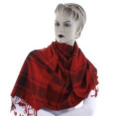 Cashmere Károvaná dámská šála Mirna tmavě červená