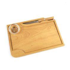 AMADEA Dřevěné prkénko na steak s nožem a miskou, masivní dřevo, 30x20x1,5 cm