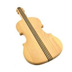 AMADEA Dřevěné prkénko ve tvaru houslí, masivní dřevo, 40x18x2 cm