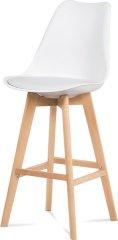 ART Barová židle, bílá plast+ekokůže, nohy masiv buk CTB-801 WT Art