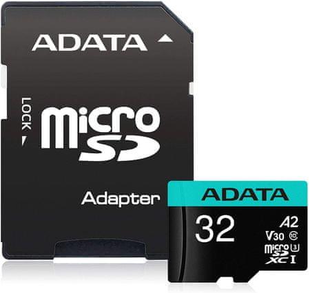 A-Data Premier Pro MicroSDHC spominska kartica, 32 GB, UHS 3, V30, A2 + SD adapter