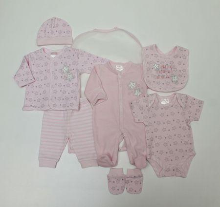 Just Too Cute darilni komplet za dojenčke 7set, dekliški, zvezdice, 62, roza